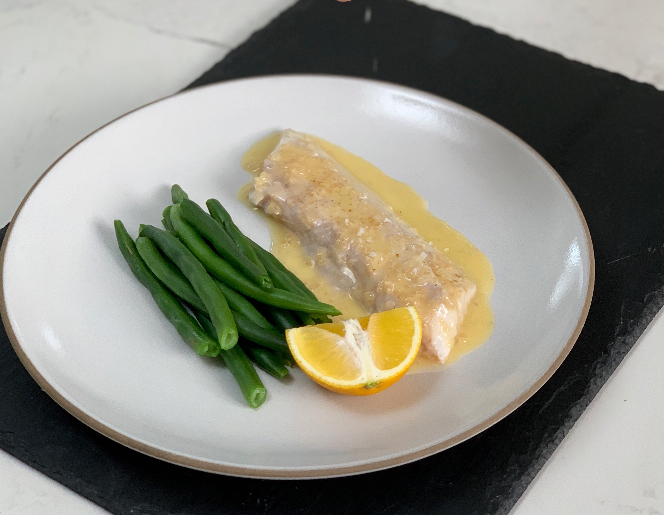 Steamed Fish with Beurre Blanc and Green Beans